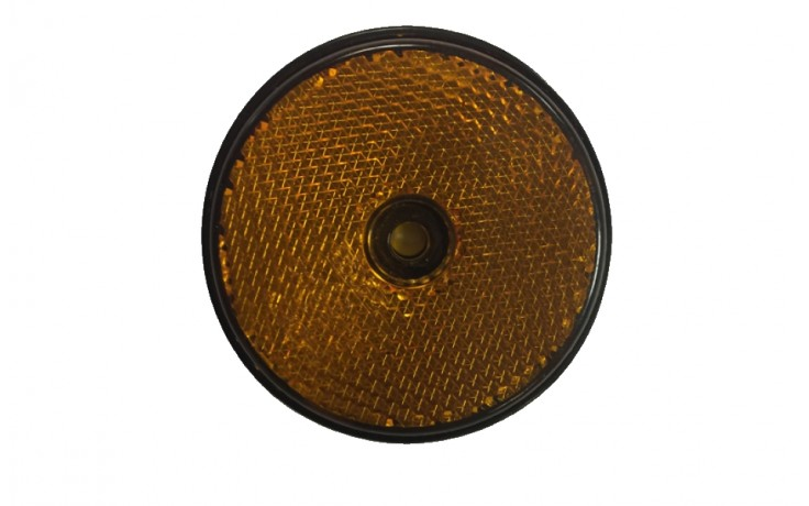 Reflector Round Amber Side