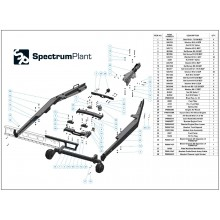 Exploded spare parts diagram and the part numbers for the Timberwolf TW230 Chassis